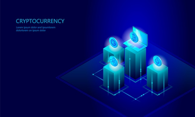 Isometric internet cryptocurrency coin business concept, blue glowing
