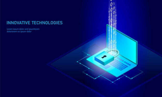 Isometric internet security lock business concept.