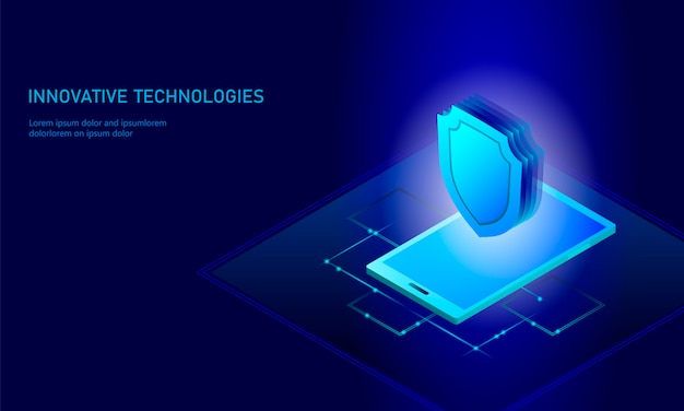 Isometric internet security shield business concept, blue glowing isometric