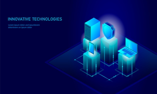 Isometric internet security shield business concept, blue glowing