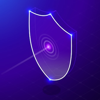 Isometric internet security shield business concept. network data security isometric  illustration. neon shield. virus attack.