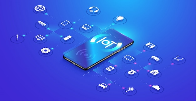 Isometric internet of things background