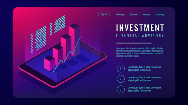 Isometric investment and financial advisory landing page concept.