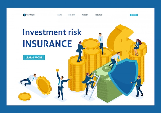 Isometric investment risk insurance, businessmen insure money and assets landing page
