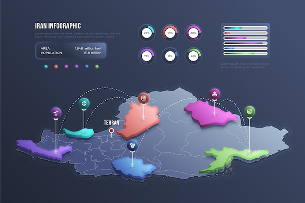 等尺性イラン地図インフォグラフィック