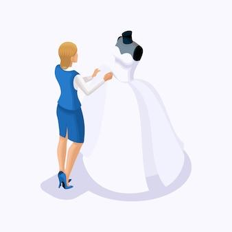 Isometric은 맞춤 드레스를 입은 고객 인 웨딩 드레스를 바느질하는 재단사 세트입니다. 아틀리에 세트 2에서 최고급 고급 웨딩 드레스 재봉