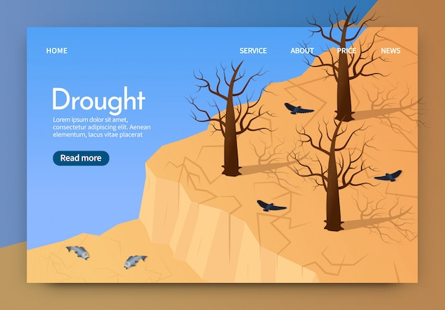 Isometric is written drought landing page 3d.