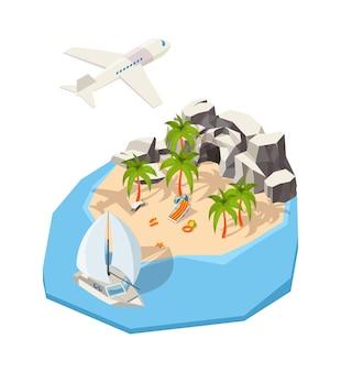 Isometric island. dream holiday vacation at seaside summer passenger ship travel tour concept ocean  island. sea island, isometric journey relaxation illustration