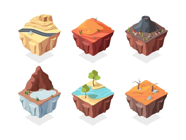 Isometric island game landscapes set. red desert with cacti volcano with village house mountain lake and plants river with trees on side of road highway on rocky terrain.