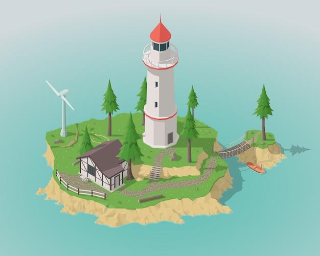 Isometric island and lighthouse.