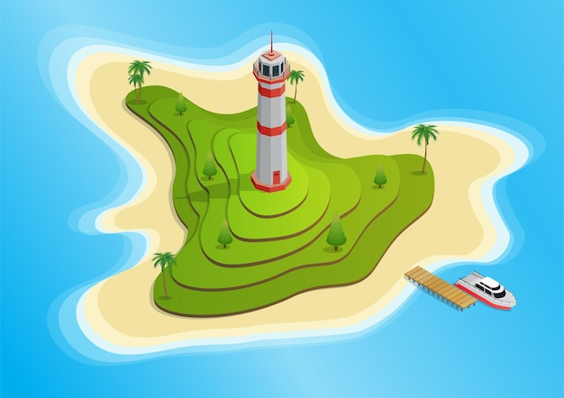 Isometric island with a lighthouse on terraces