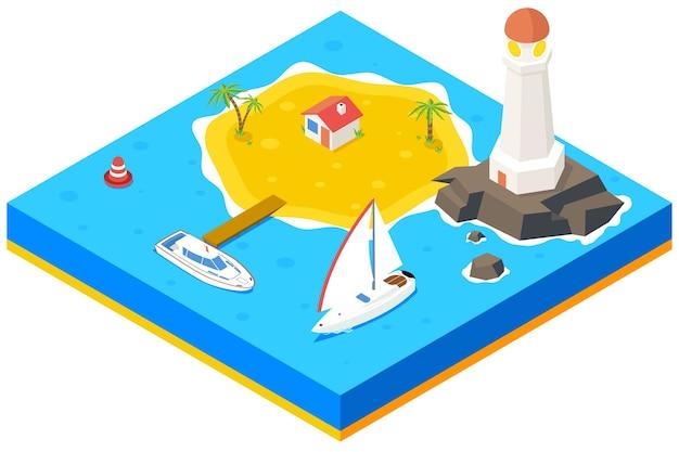 배, 요트, 바다와 아이소 메트릭 섬. 3d 배경 개념입니다. 해변 낙원, 야자수와 부두, 주택과 등대,