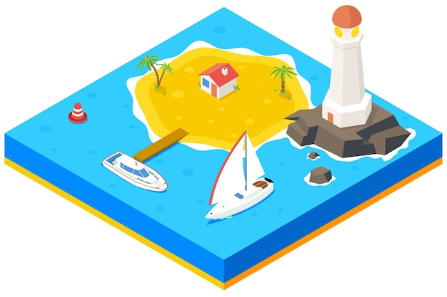Isometric island with ship, yacht and sea.  3d background concept. beach paradise, palm and pier, housing and lighthouse,