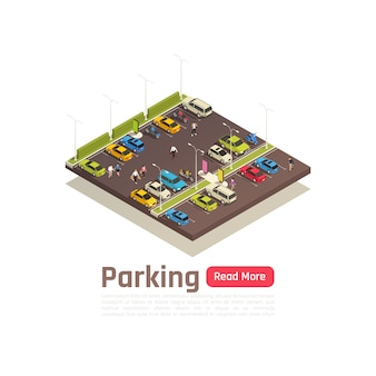 Isometric and isolated city composition banner with parking description and read more button vector illustration