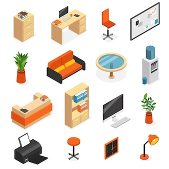 Isometric isolated office furniture icon set with couch lamp computer table chair wardrobe vector illustration