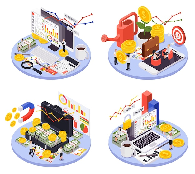 Isometric isolated and round wealth management icon set with different ways of making money