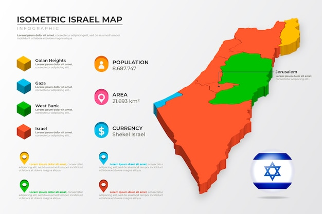 Isometric israel map infographic