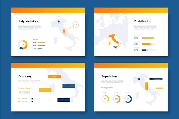 等尺性イタリア地図インフォグラフィック