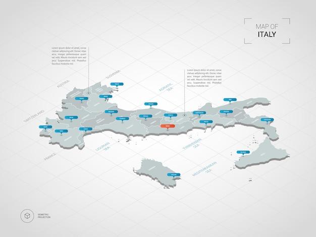 Изометрическая карта италии. стилизованная иллюстрация карты с городами, границами, столицей, административным делением и указателями; градиентный фон с сеткой.