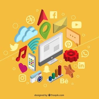 Изометрические элементы социальных медиа