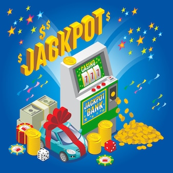 Isometric jackpot concept with slot machine chips dice money stack gold coins car isolated