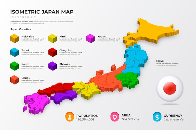 Isometric japan map infographic