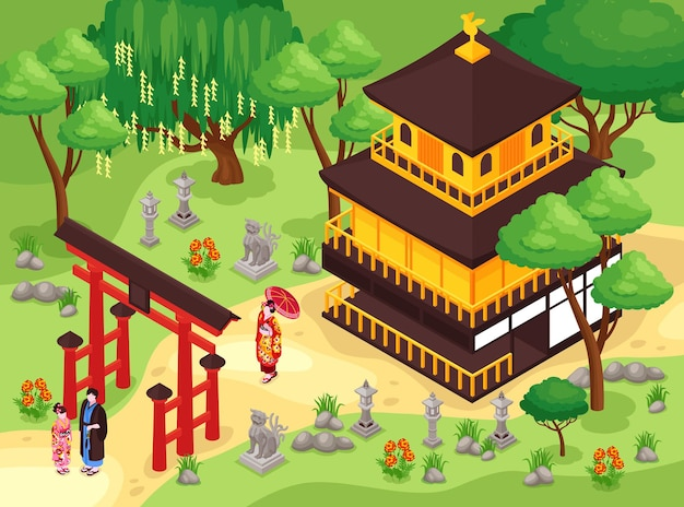 아이소 메트릭 일본 공원 및 건물 그림
