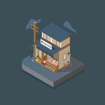 Isometric japanese fish shop