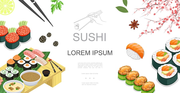 Isometric japanese food colorful template with sushi sashimi rolls sauces spices lime slice chopsticks sakura branch  illustration