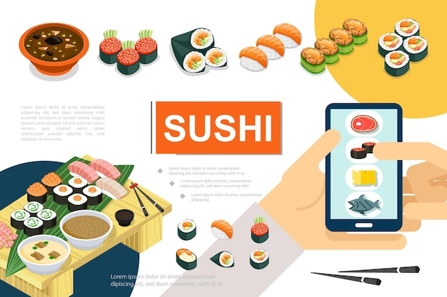 さまざまな種類の寿司刺身スープとロールパンのオンライン注文のイラストを使用した等尺性の日本食組成物