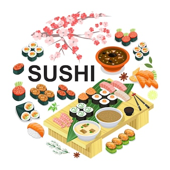 Isometric japanese food round concept with sushi sashimi wasabi soup soy sauce chopsticks sakura cherry branch  illustration