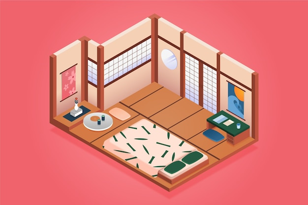 Isometric japanese room with futon
