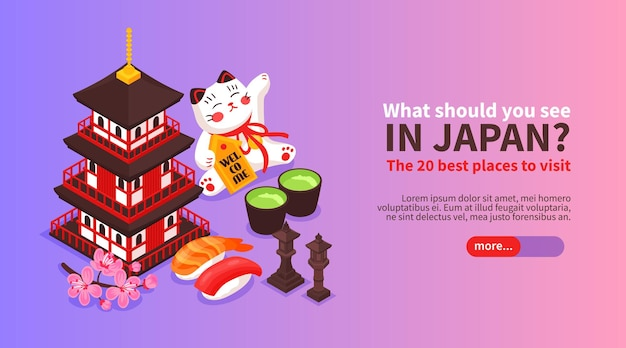 Isometric japanese themes horizontal banner