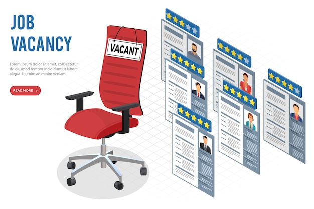 Isometric job agency employment, human resources, resume and hiring concept. cvs applicants for vacancies. office chair with sign vacant. isolated