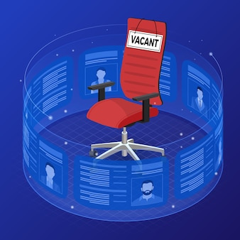 Isometric job agency employment, human resources, resume and hiring concept. resume applicants for vacancies on flexible transparent screen. office chair with sign vacant.