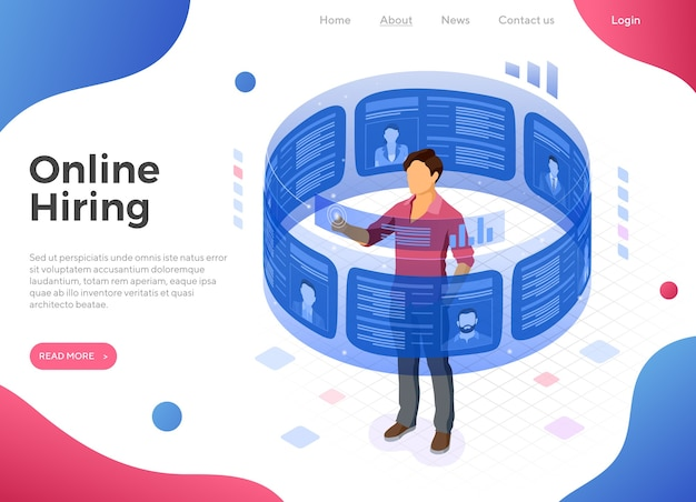 Isometric job agency employment, human resources, resume and hiring concept.