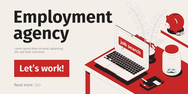 Isometric job search concept with open computer on working desk vector illustration