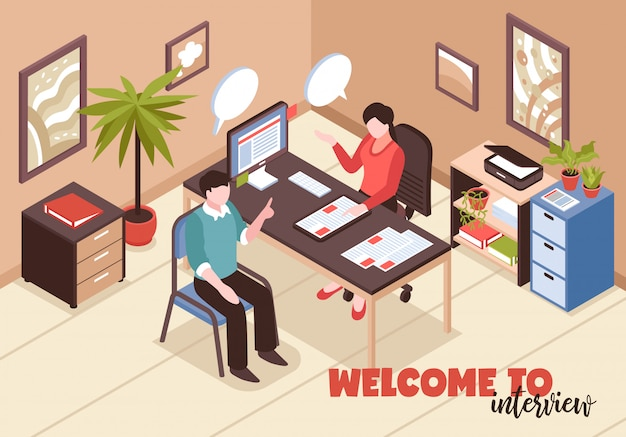Isometric job search recruitment composition with text and office room interior with hr and job applicant