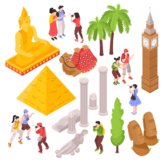 Isometric journey travel attractions set with isolated images of tourists and famous sightseeing places of interest