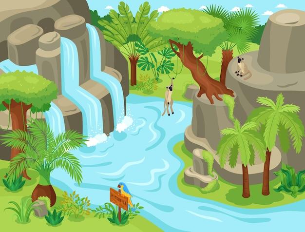 야생 열대 풍경 폭포 이국적인 나무와 원숭이 등산에 매달려 아이소 메트릭 정글 동물 구성