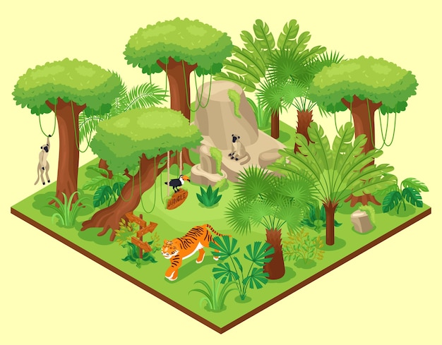 Isometric jungle composition with square platform with wild nature landscape tropical trees plants and exotic animals