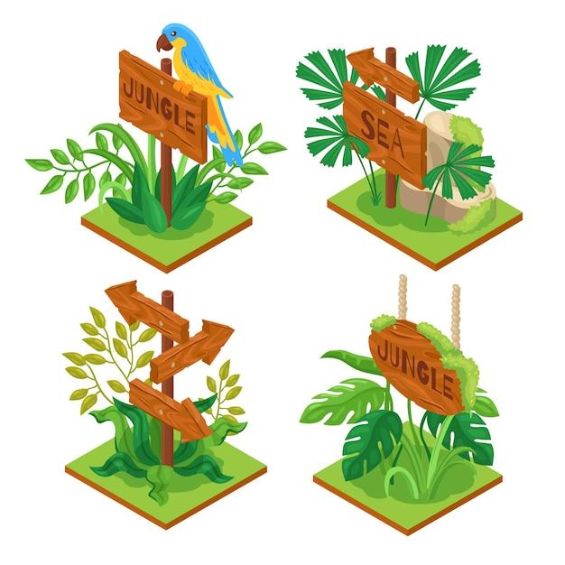 Isometric jungle wooden sign set