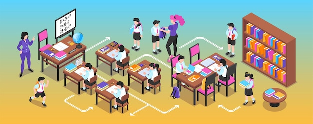 Isometric junior school narrow illustration