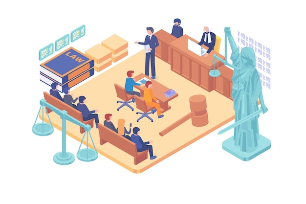 Isometric justice courtroom vector concept