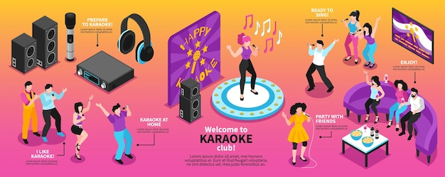 Изометрическая караоке-инфографика с иллюстрацией поющих людей