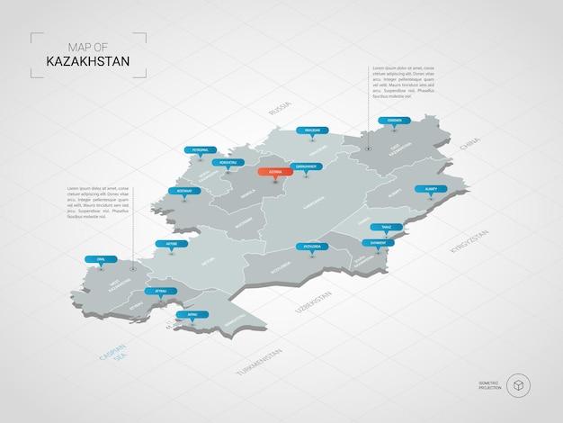 Изометрическая карта казахстана. стилизованная иллюстрация карты с городами, границами, столицей, административным делением и указателями; градиентный фон с сеткой.
