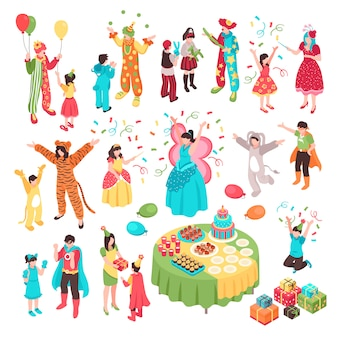 Isometric kids animator holiday party set with isolated human characters adult entertainers in costumes and children