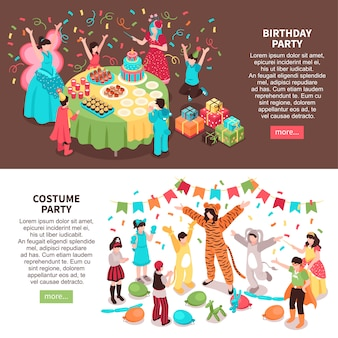 Isometric kids animator horizontal banners set with children characters and entertainers in festive costumes with text