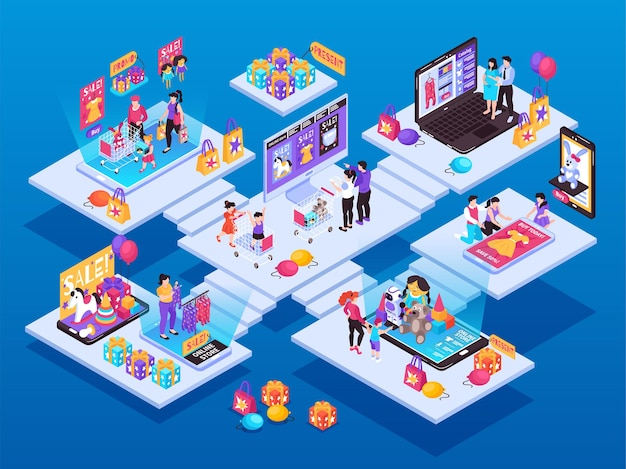Isometric kids online shopping composition with set of stairway platforms with people toys and smartphone screens Premium Vector