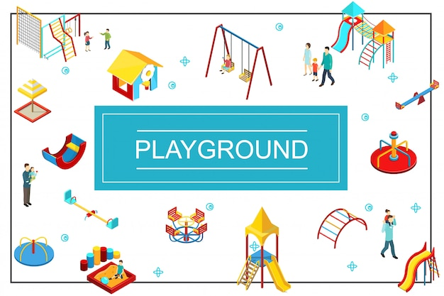 Isometric kids playground composition with seesaw swings playhouse sandbox slides colorful bars parents and children